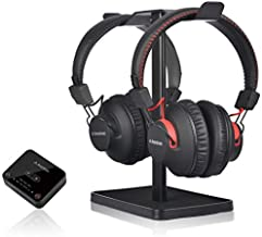 Avantree HT41899 Dual Bluetooth 5.0 Wireless Headphones for TV Watching (Set of 2) with Transmitter (Optical AUX RCA) & Headset Stand, Individual Volume Control, 40Hrs Playtime, Plug n Play, No Delay
