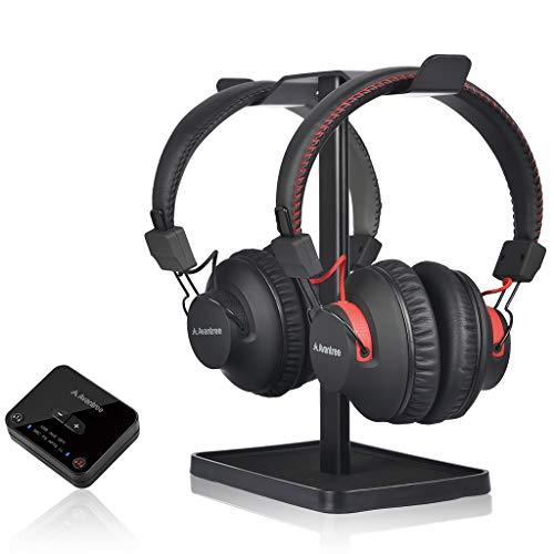 Avantree HT41899 Bluetooth 5.0 Duales Auriculares Inalámbricos para TV con Transmisor (Digital Óptico Aux RCA Pc USB), 40 Horas de batería, Enchufe Y Juegue, Sin Retardo Audio