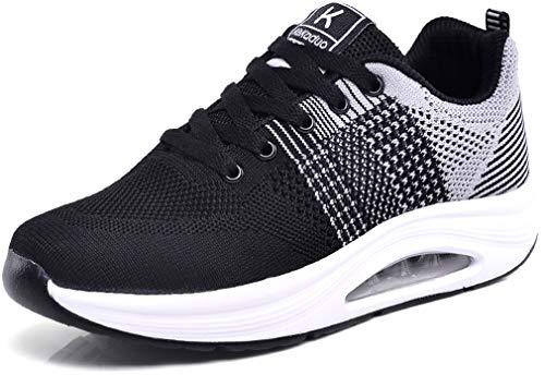 Solshine Damen Mesh Plateau Sneaker Air Walkmaxx Sportschuhe 575 Schwarz 40EU