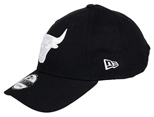New Era NFL MLB NBA - Gorra de béisbol ajustable, color negro y blanco, Hombre, Bulls-Black, talla única