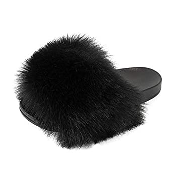 FUNKYMONKEY Women s Slides Faux Fur Cute Fuzzy Slippers Comfort Flat Sandals  9 M US New Black