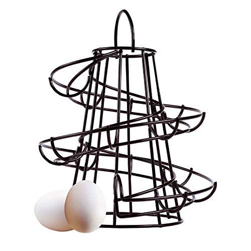 Soporte Huevo Estante Admite hasta 18 Huevos, Moderno Espiral Diseño Huevo Dispensador de Pie Almacenaje Baldas Expositoras Soporte, Ahorro de Espacio Cocina Organizador - Negro, Tamaño Libre