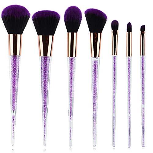 Pinceau De Maquillage Set, 7 PCS Cristal Violet Maquillage Diamant Brosse Violette Cheveux Pinceau De Maquillage Pinceau De Maquillage Outil De Beauté Set,Violet