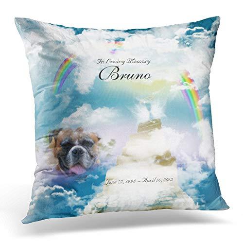 HCKZ Throw Pillow Cover Loss Rainbow Bridge Pet Dog Loving Decorative Pillow Case Home Decor Square 18 x 18 Inch Pillowcase