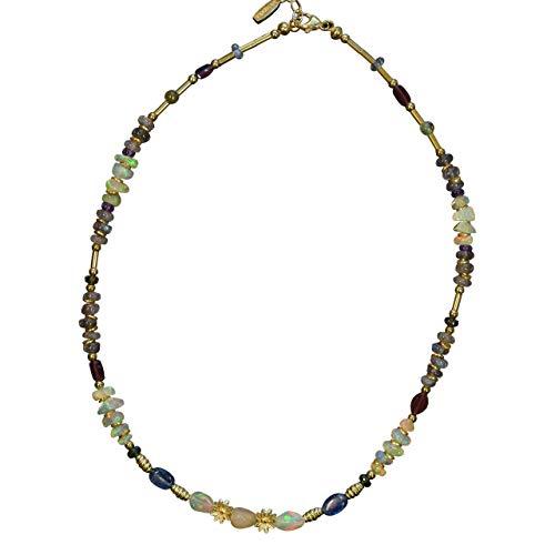 BONA ROCA Opal Edelstein Collier mit Zwischenteilen aus Wello-Opal, Chromdiopsid, Labradorit OK133G