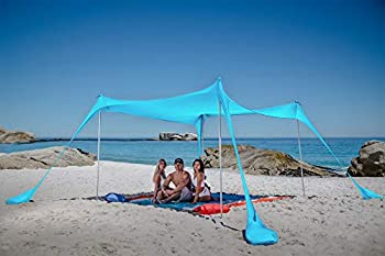 SUN NINJA Pop Up Beach Tent Sun Shelter UPF50+ with Sand Shovel Ground Pegs and Stability Poles Outdoor Shade for Camping Trips Fishing Backyard Fun or Picnics  10x10 FT 4 Pole Turquoise