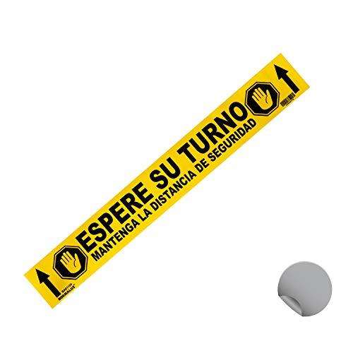 Normaluz BA81100 - Señal Adhesiva Suelo Espere su Turno 70x10 cm, Vinilo adhesivo, Amarillo