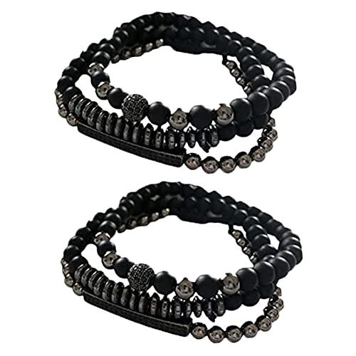 3 unids/1 set hombres pulseras perlas, negro pulsera de cuentas de acero inoxidable, negro pulsera de cuentas de acero inoxidable, 6PCS,