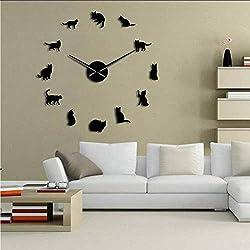 LFDHSF Silent Wall Clock,Silhouette cat Wall Art Kitten DIY Giant Wall Clock Fun Big Needle cat Hello Kitty Girl Room Big Wall Clock cat fan-47 inc