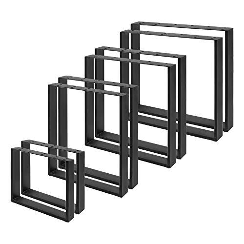 AUFUN Tischgestell Metall Tischbeine 2er Set Tischuntergestell Tischfuß Möbelfüße DIY Esstischgestell Tischbein, Couchtischgestell Esstischgestell, Schwarz, Rechteck 80 x 72 cm(BxH)