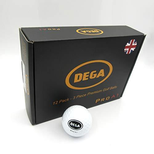 DEGA Golf Balls Pro A1 - Dozen, 3-Piece Layers Maximum Distance Soft Feel Golf Ball High Short Game Spin - 12 Pack Pro Golf Balls for Men & Women