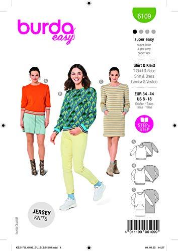 Burda 6109 Schnittmuster Shirt und Kleid (Damen, Gr. 34-44) Level 1 super Easy
