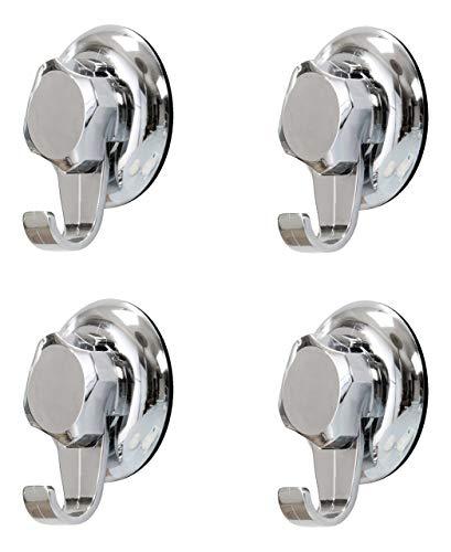 COMPACTOR 4er Set Wandhaken fürs Bad, Fixierung dank Saugnapf, Für bis zu 6 kg Last, Verchromter Nichtrostender Stahl, 7,2 x 4 x 8,7 cm, RAN7816