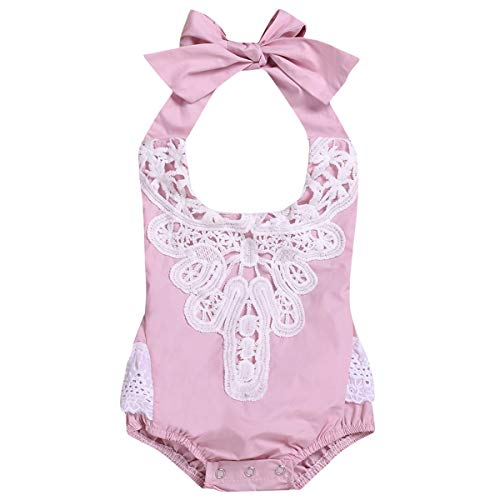 HaiQianXin Baby Peuter Baby Meisjes Kant Strik Halter Romper Jumpsuit Bodysuit (Kleur: Licht roze, Maat : 18M-24M)