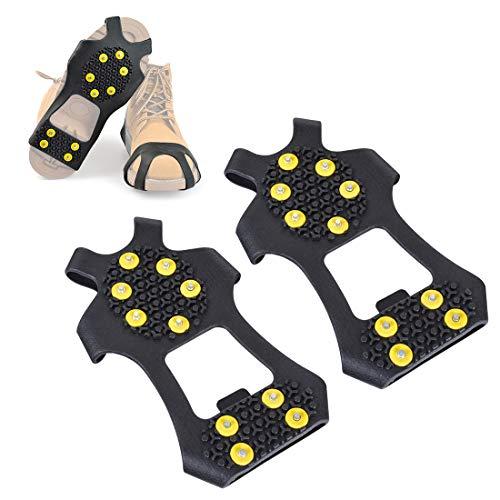 Hivexagon Cubre Zapatos Aantideslizante de 10 Garras para Nieve Hielo Crampones Puntas Agarres Crampones Clavos CP019