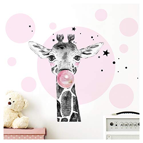 Little Deco Wandaufkleber Kinderzimmer Giraffe mit Kaugummiblase und Kreise I Motiv 1 Rosa I Wandsticker selbstklebend Wandtattoo Kinder Sticker DL455
