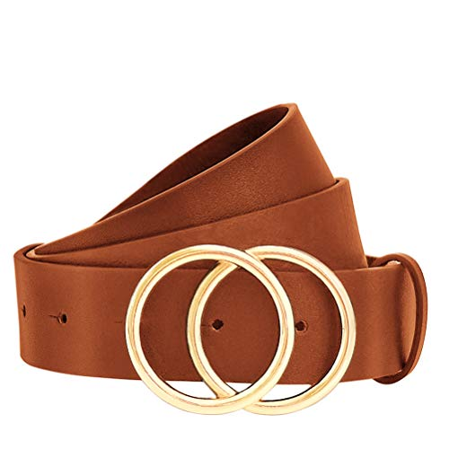 WONDAY Women Leather Belt, Geniue Leather Cute Ladies Belt for Jeans Dress Pants with Fashion O-Ring Buckle (Brown-Oring, M: Fits Waist 32''-36'')