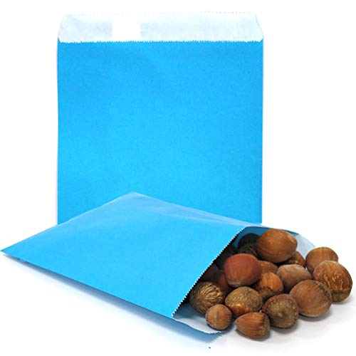 AZOWA 100 CT Small Paper Treat Sacks Blue 5 x 7 Inches Candy Buffet Bags for Party