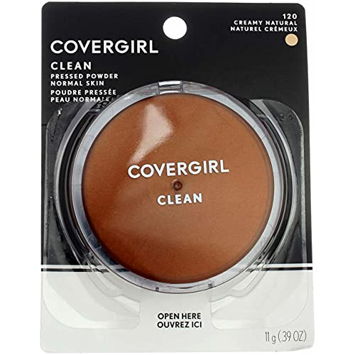 CoverGirl Clean Pressed Powder Compact, Creamy Natural [120], 0.39 oz by COVERGIRL