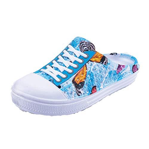 HotWang Damen Garten Clogs Atmungsaktive Schuhe Badeschuhe Strandschuhe Wasserschuhe Schuhe Hausschuhe Wanderschuhe Muster Schmetterling Blau 39