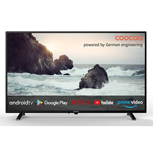 coocaa 32S3M 32 Zoll Smart HD LED Fernseher (81 cm) mit Android TV (schmaler Rahmen, Triple Tuner, Android 9.0, Netflix, YouTube, Prime Video, HDMI, CI-Slot, USB, Digital Audio)