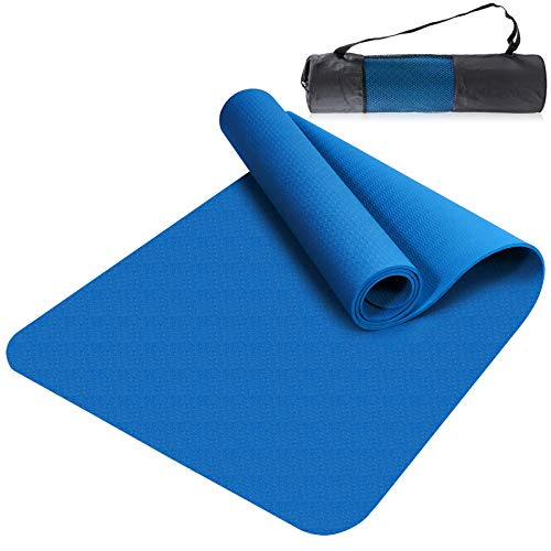 Esyhomi Gymnastikmatte rutschfest Schadstofffrei TPE, Yogamatte Fitnessmatte Übungsmatte mit Tragegurt/Tasche, Profi Matte für Yoga & Pilates (Blau)