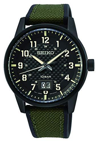 Seiko Quarz Herren-Uhr mit Titankarbidauflage und Band aus Textil und Silikon SUR325P1