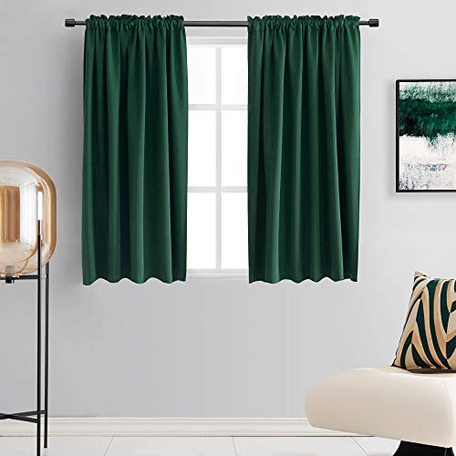 DONREN Hunter Green Blackout Thermal Insulating Window Curtain Panels for Bedroom with Rod Pocket (42 x 54 Inches,2 Panels)