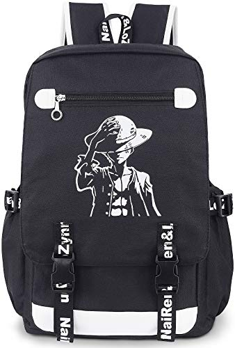 Roffatide Anime One Piece Luminous Backpack Oxford Black Large Capacity School Bag Laptop Back Pack