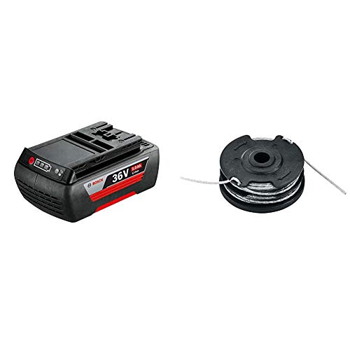Bosch Ersatz-Akku 36 V Li (2,0 Ah) (1 Stück) F016800474 & F016800351 Ersatz-Trimmerfaden, schwarz