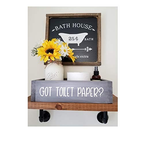 Farmhouse Wood Rustic Bathroom Toilet Paper Holder