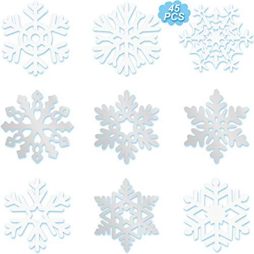 Zonon 45 Stück Schneeflocken Ausschnitte Dekoration, Weiße und Silber Weihnachten Schneeflocken Papier Ausschnitte mit Klebepunkt Punkten für Weihnachten Winter Party Gefrorene Party Zuhause