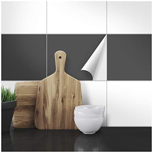 Wandkings Fliesenaufkleber - Wähle eine Farbe & Größe - Dunkelgrau Seidenmatt - 20 x 25 cm - 20 Stück für Fliesen in Küche, Bad & mehr