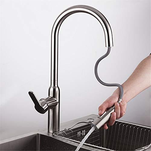 BFLO Kraan Trek keukenkraan uit roestvrij staal Keukenkraan met sproeier Waterkraan Keukenkraanmixer