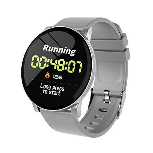 XUEXIU Brazalete Inteligente Reloj Inteligente Recordatorio De Llamada Impermeable Ritmo Cardíaco Monitor El Tiempo Pronosticado Fitness Watch Bluetooth (Color : Gray Silicone Strap)