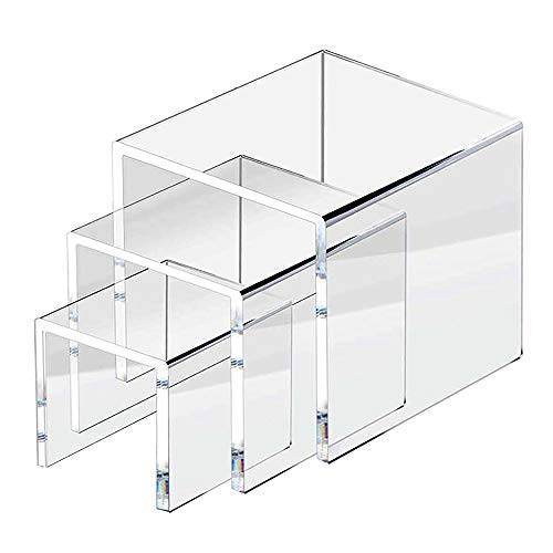 ifavor123 5mm Thickness Clear Acrylic Riser Set - 3 Display Stand Risers (1 Set 3', 4', 5')