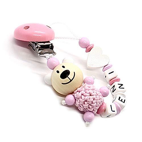 Schnullerkette mit Namen für Mädchen und Jungs | VIELE MODELLE | Personalisierte Schnullerhalter mit Wunschnamen (Rosa-Bär, Herz, Weiß)