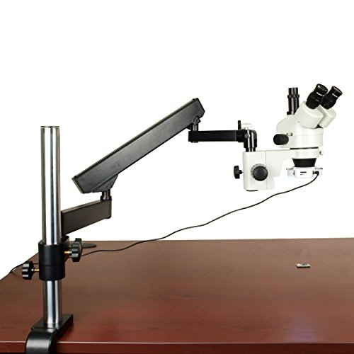 OMAX 7X-45X Zoom Trinocular Articulating Arm Stereo Microscope with Verticle Post and 64 LED Ring Light