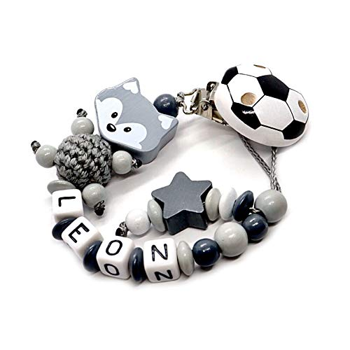Individuelle Schnullerkette mit Namen für Mädchen und Jungs | VIELLE MODELLE | Schnullerhalter mit Wunschnamen (Fuchs grau-Fußball-Stern)