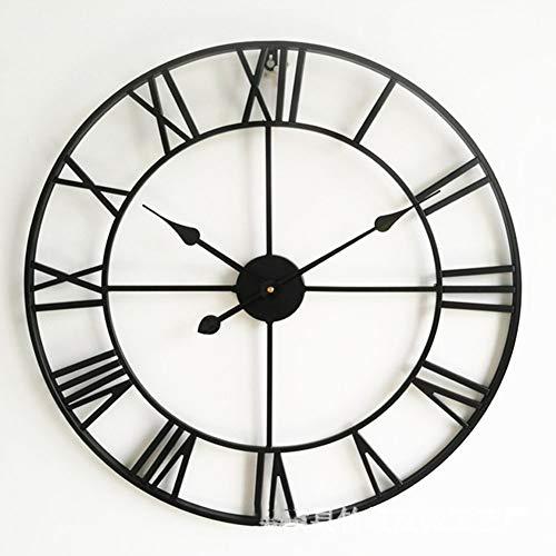 Analógico Metal Decorativo Reloj De Pared para El Hogar,Metal Reloj De Pared,Europeo Retro Reloj con Grandes Números Romanos,salón Negro Diameter:80cm(31.5inch)