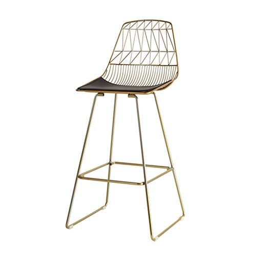 Taburete Moderno, sillas Altas para mostrador, Silla de Comedor de Cocina de café, Asiento de Cuero PU, Patas de Metal Dorado, Altura del Asiento 75 cm