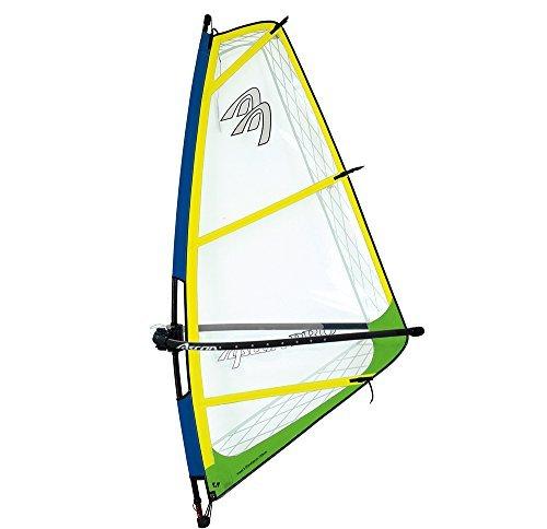 Ascan Pro Rigg - Vela de Windsurf Completa con mástil con Horquilla para niños/jóvenes/Mujer - surfshop24 - Amarillo/Verde, 4