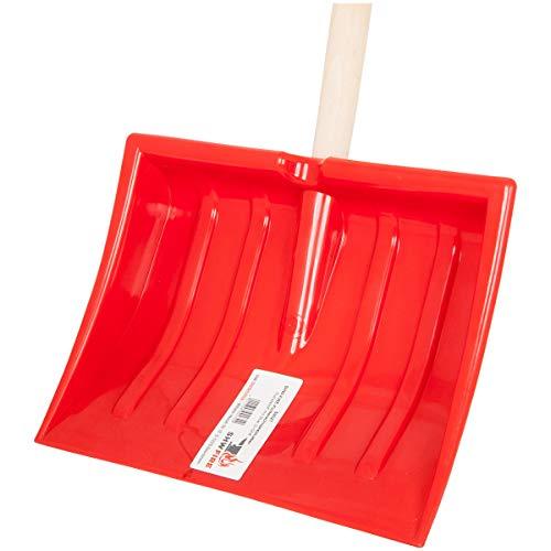SHW-FIRE 59027 Schneeschieber Kinder Schneeschaufel leicht Kunststoff rot Verstärkungsrippen mit Stiel Holz 75 cm lang und D-Griff