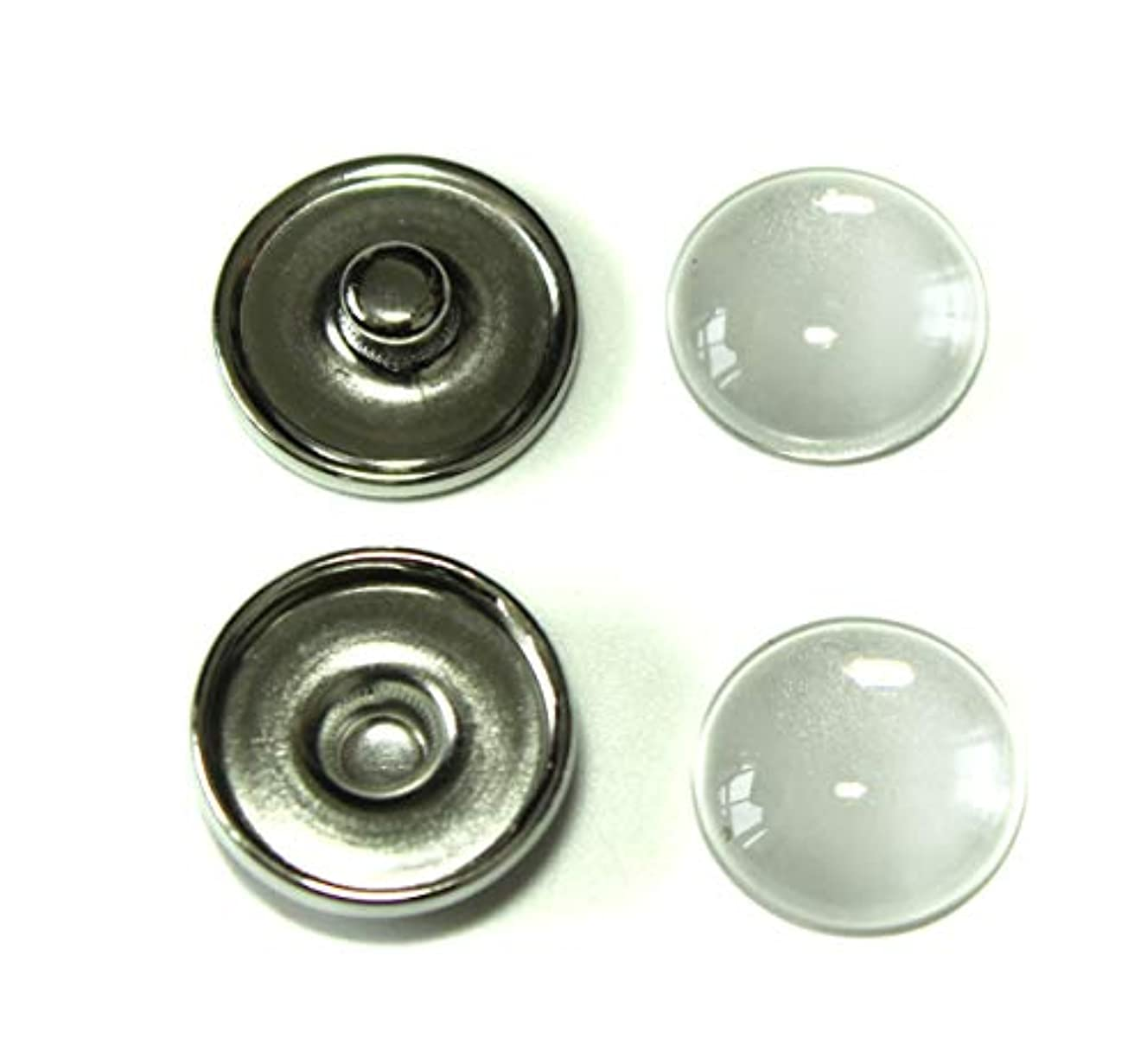 ALL in ONE Flat Round Platinum Snap Button Cabochon Tray (18mm with Glass Cabochons - 20 Sets)