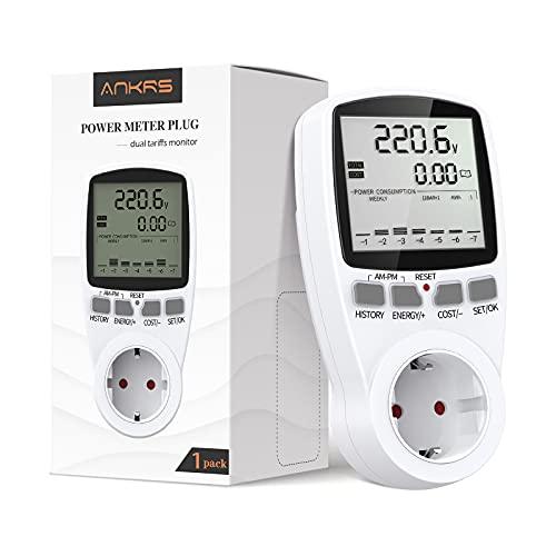 Medidor de Consumo Eléctrico de Dual Tarifa, Ankrs Enchufe Medidor Consumo con Pantalla LCD Retroiluminación, Ahorrar Energía y Costo, Monitor de Consumo Eléctrico con Batería Recargable (1 Pack)