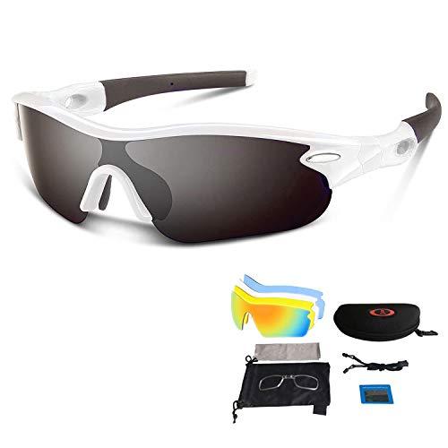 V VILISUN Sport Sonnenbrille Fahrradbrille Sportbrille mit UV400 5 Wechselgläser inkl Schwarze Polarisierte Linse für Outdooraktivitäten wie Radfahren Laufen Klettern Autofahren Angeln Golf Unisex