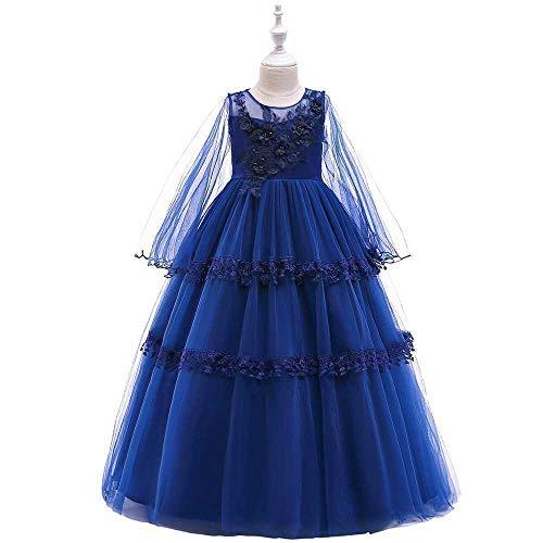 Chicas Pageant Princess Flower Dress Kids Prom Puffy Ball Gowns Longitud del Piso Baile Vestido de Noche para niños niñas (Color : Blue, Size : 10-11Years)