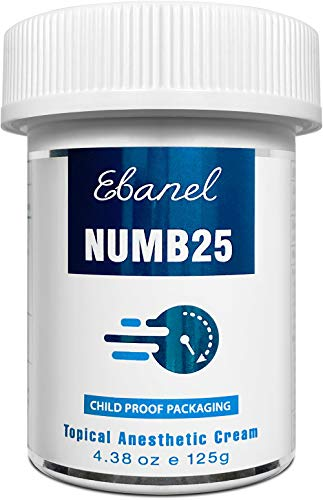 Ebanel 5% Lidocaine Topical Numbing Cream Maximum Strength, 4.38 Oz, N25 Pain Relief Cream Anesthetic Cream Infused with Aloe Vera, Vitamin E, Lecithin, Allantoin, Secured with Child Resistant Cap