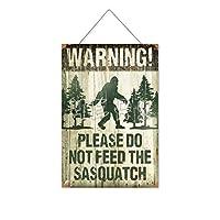 警告サスカッチに餌を与えないでください木製のリストプラーク木の看板ぶら下げ木製絵画パーソナライズされた広告ヴィンテージウォールサイン装飾ポスターアートサイン