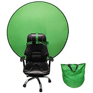 Green Backdrop Background with Hook-nloop Straps, Green Background with Hook Strap for Chair Portable Webcam Background Screen Green Backdrop Screen Green Panel Lighting Kit